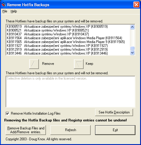 Remove Hotfix Backups